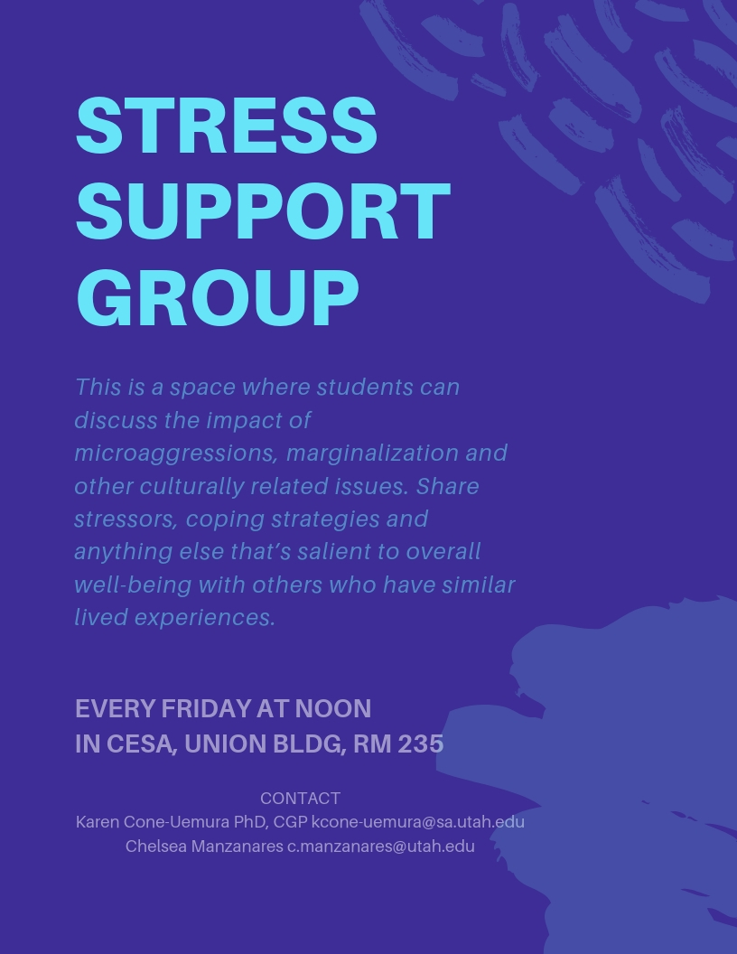 This is a space where students can discuss the impact of microaggressions, marginalization and other culturally related issues. Share stressors, coping strategies and anything else that's salient to overall well-being with others who have similar lived experiences.