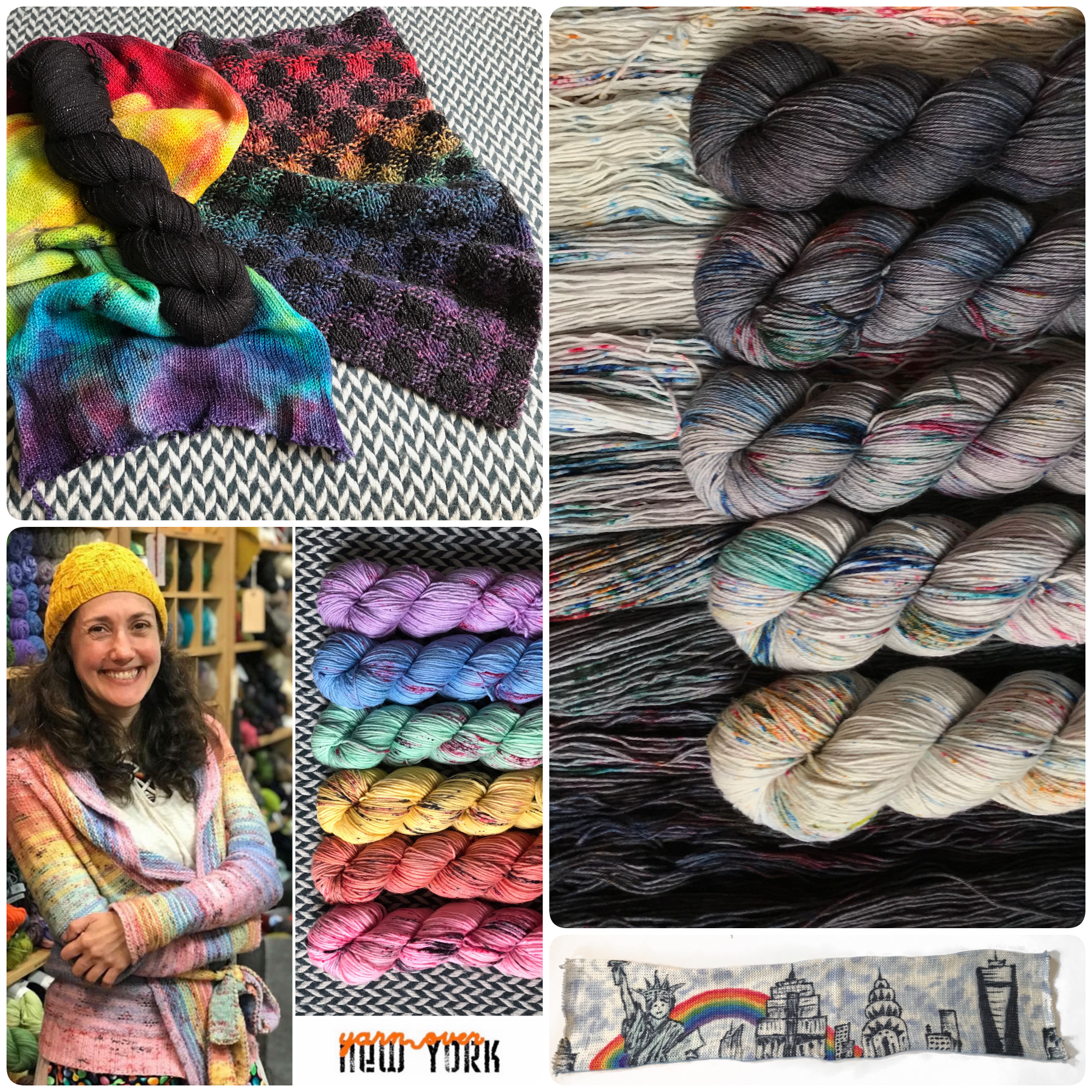 Collage of yarn images from Yarn Over New York