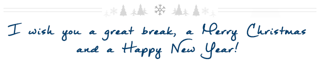I wish you a great break, a Merry Christmas and a Happy New Year!