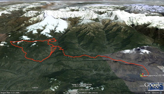 2012 Annapurna 100km course route