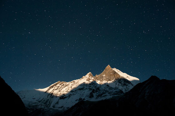 Alex Treadway's shot of Annapurna Basecamp at night
