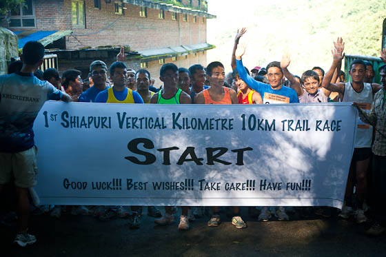 Start of the Shivapur Vertical Kilometre running race
