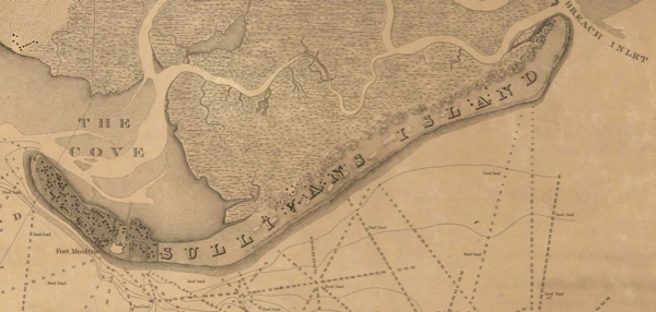 Detail of the 1825 Map of the Charleston Harbor