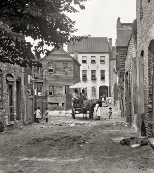 Bedon's Alley looking north to Elliott Street, ca 1920