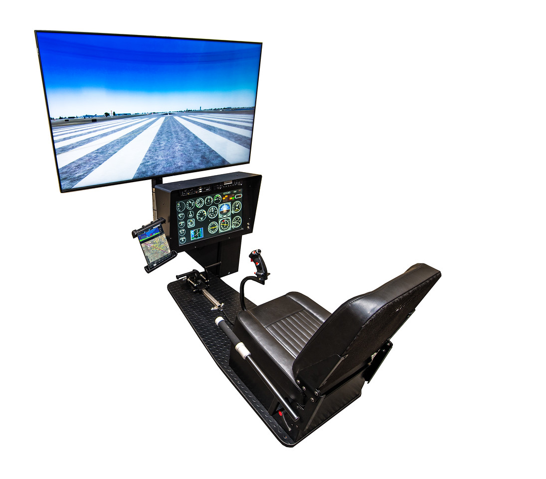 One of our Basic HSTD1 Devices with an optional multi-configurable instrument panel. Helicopter Controls are available as AS350, Bell206, Generic Twist Throttle Collectives..