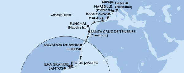 Genoa to South America