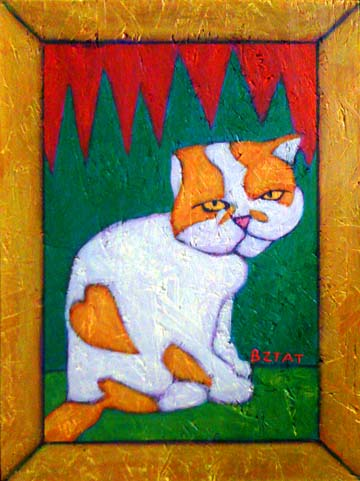 Romeo the Cat Persian orange and White Cat pet portrait painting by BZTAT