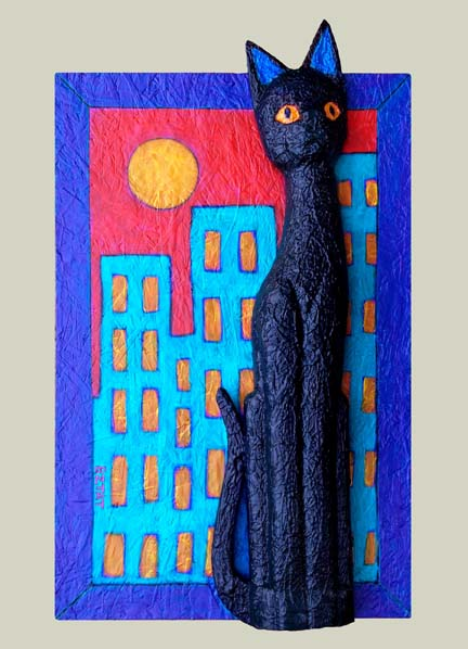 """'Black Cat in the City"""" Painting by BZTAT"""