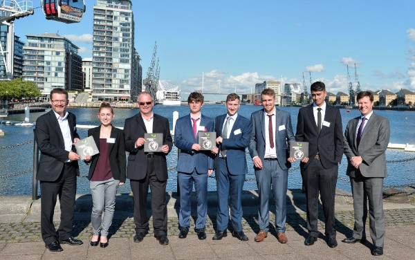 Sheffield Hallam University's winning team with Duncan and Jon from Anglo American
