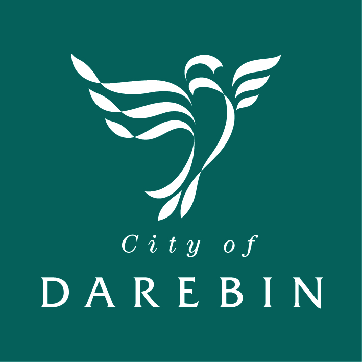 Darebin City Council logo showing the white outline of a lorikeet against a dark green background with 'City of Darebin' text underneat