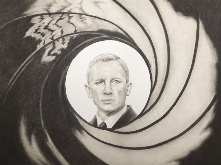 Daniel Craig James Bond chalk pastel drawing