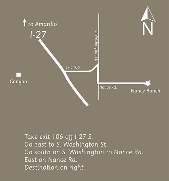 Take exit 106 off I-27 S. Go east to S. Washington St. Go south on S. Washington to Nance Rd.  East on Nance Rd.  Destination on right