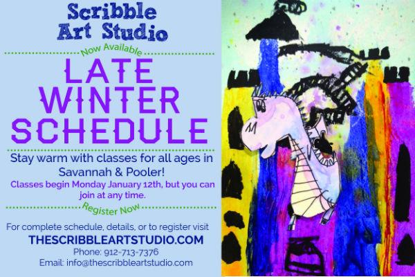 Winter art classes for all ages @ Scribble Art Studio in Savannah, Pooler