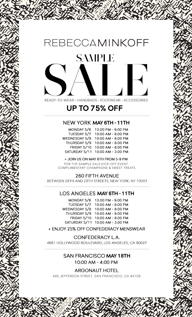 Rebecca Minkoff Sample Sale - Up to 75% Off