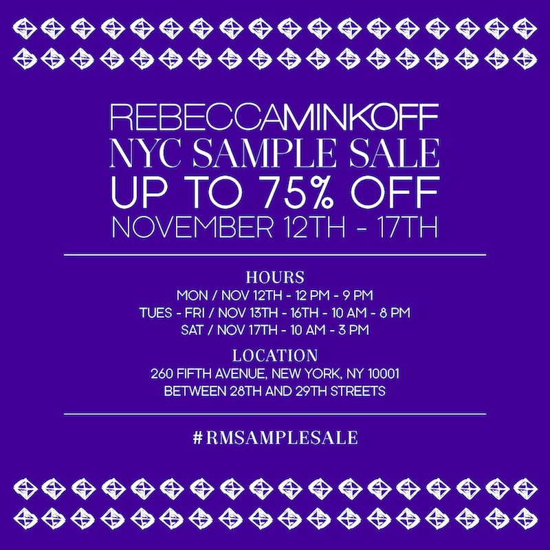 Rebecca Minkoff NYC Sample Sale, Nov. 12 - 17