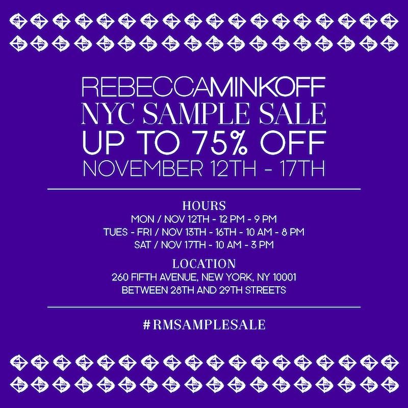 Rebecca Minkoff NYC Sample Sale, Nov. 12 - 17