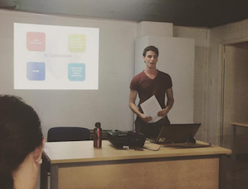 Alex giving us his presentation