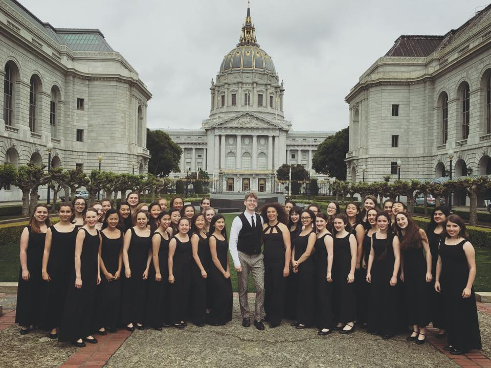 The SF Girls Chorus, conductor Valérie Sainte-Agathe, with guest artist Joshua Roman, cello, prior to concert April 10, 2016 at the San Francisco War Memorial Performing Arts Center. Photo by Rachel Clee.