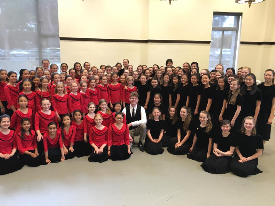 Members of the SF Girls Chorus School, Levels III and IV, with guest artist Joshua Roman, cello prior to the April 10, 2016 concert. Photo by Rachel Clee.