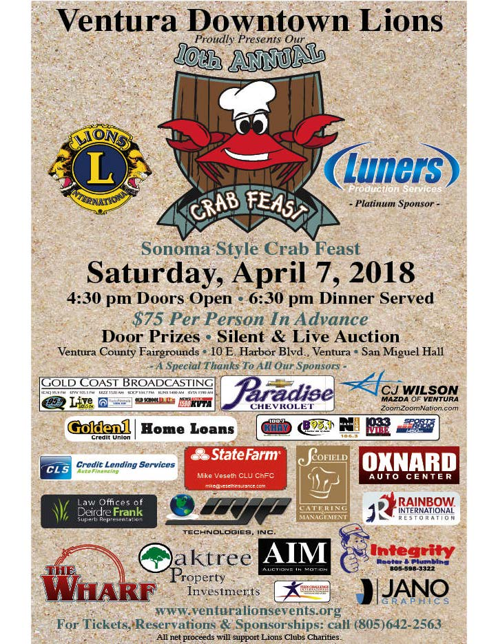 CRAB FEAST is Coming!  Hosted by Ventura Downtown Lions Club