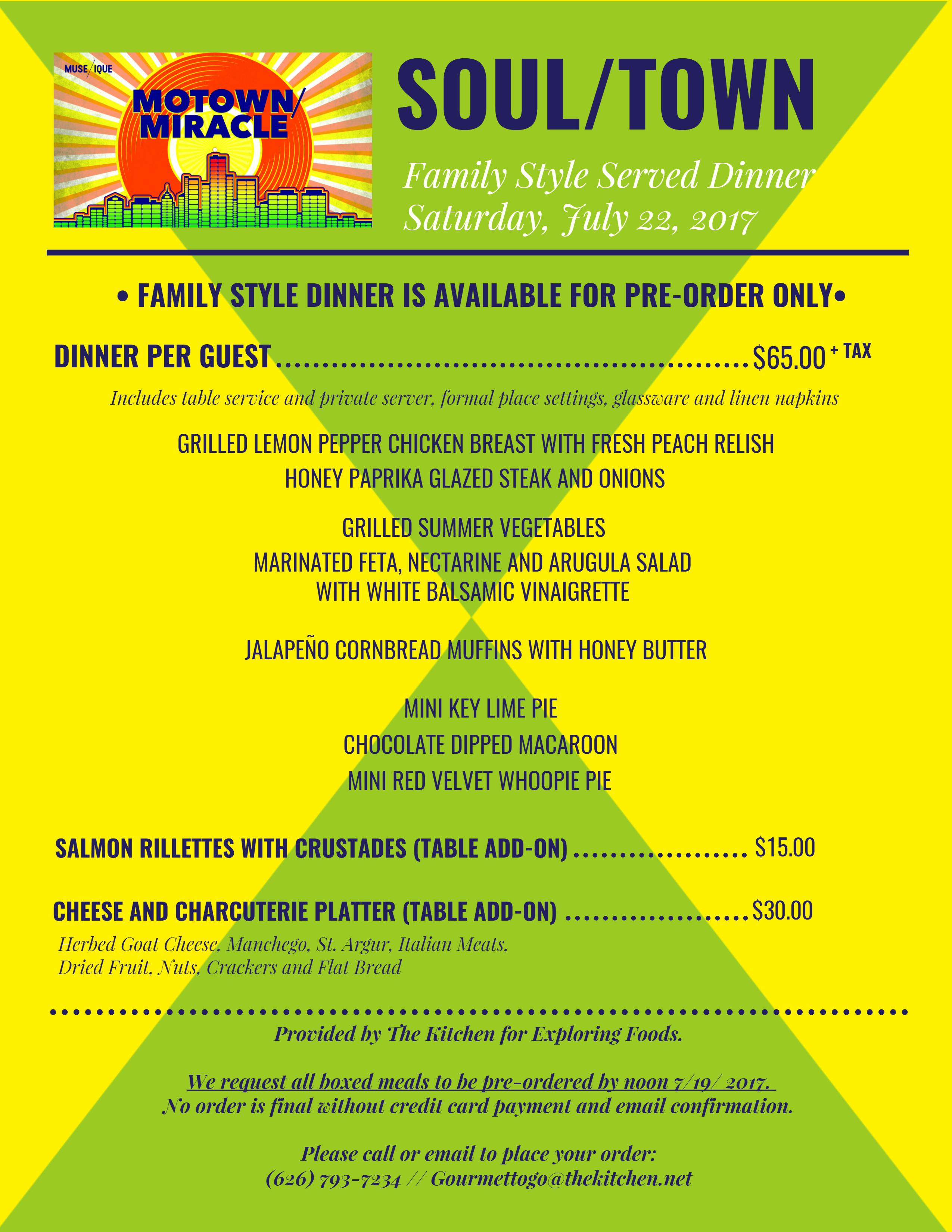 Menu for Family Style Dinner