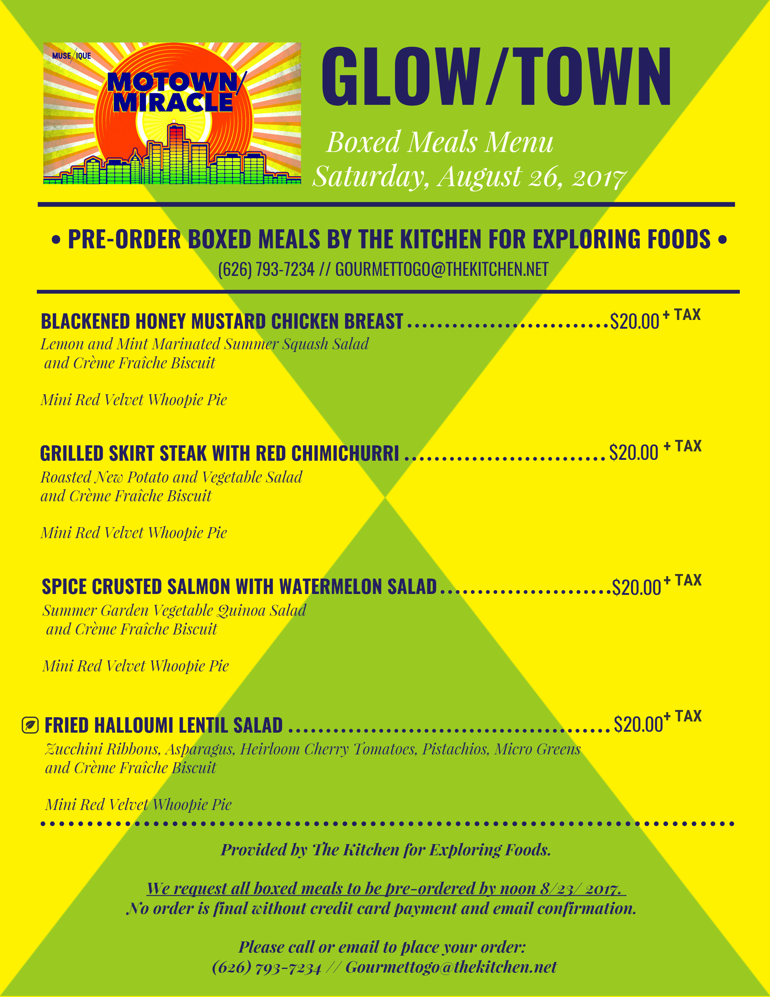 Menu for Boxed Meals (Pre-Order)