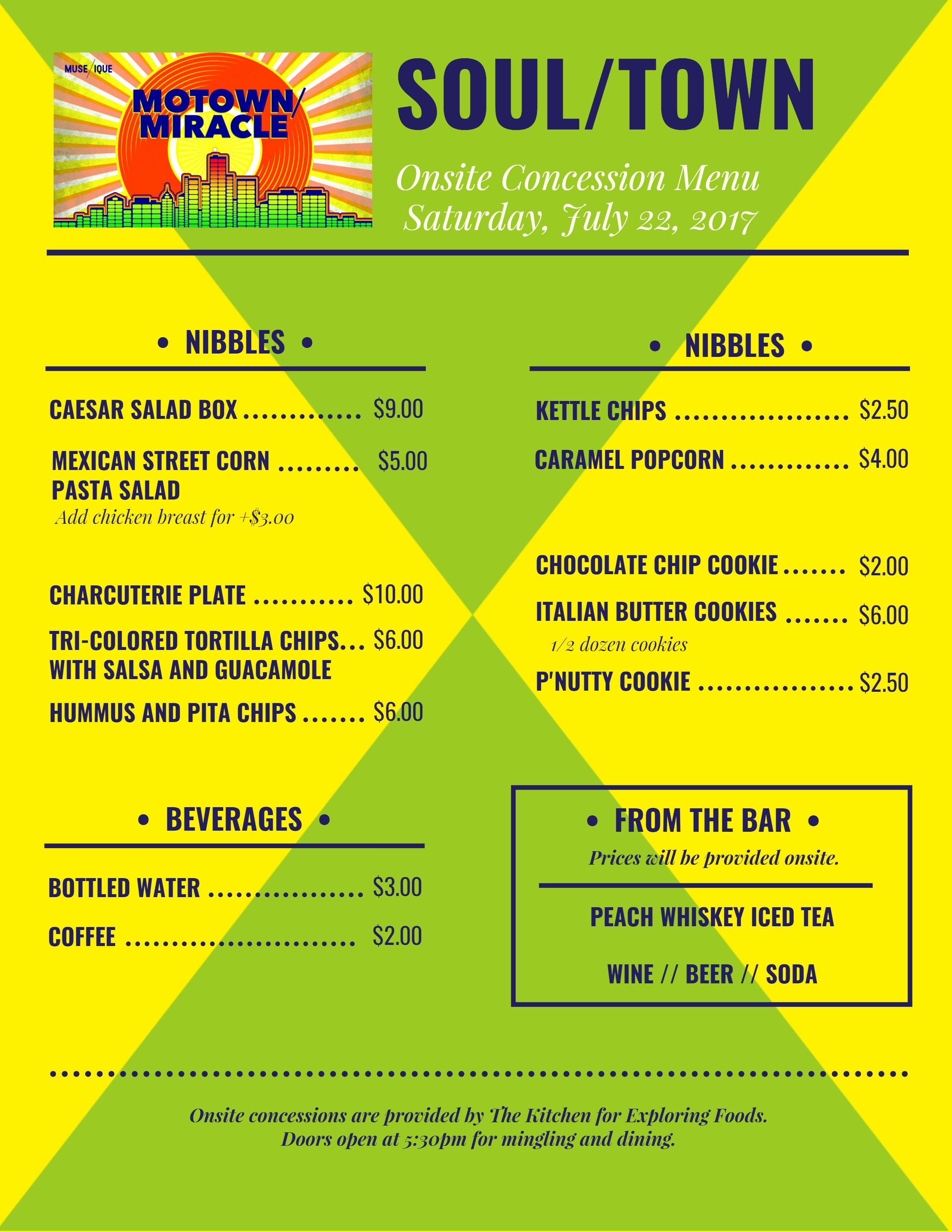 Menu for Onsite Concessions