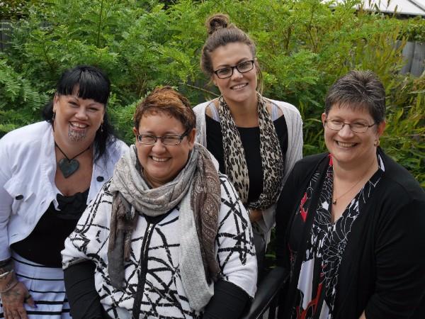 Some of the Hei Whakapiki Mauri team: Navigator Waikura, Kaiwhakahaere Ruth, Assistant Aimee and Administrator Shireen.