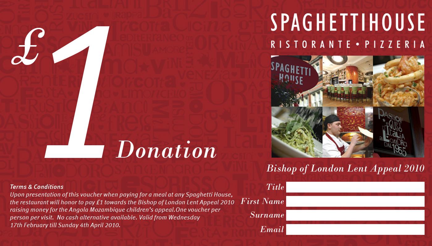 Spaghetti House £1 Voucher for Lent 2010