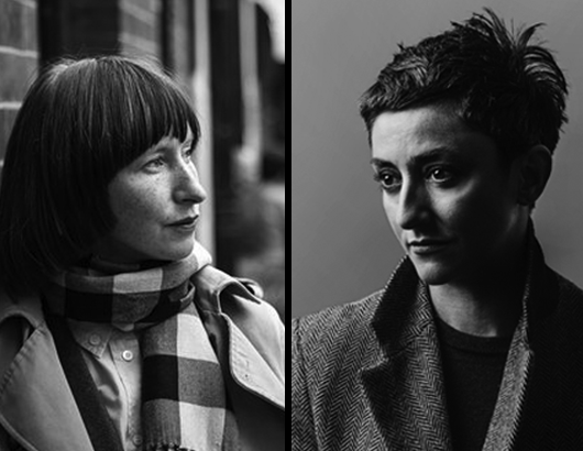 Black and white photographs of Joanna Walsh and Maria Fusco