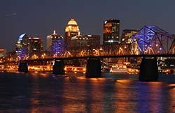 Louisville skyline at night