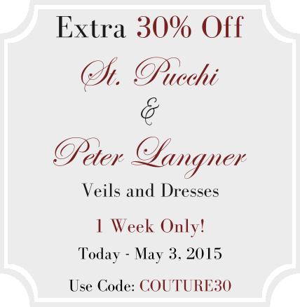 30% off St. Pucchi & Peter Langner Dresses & Veils