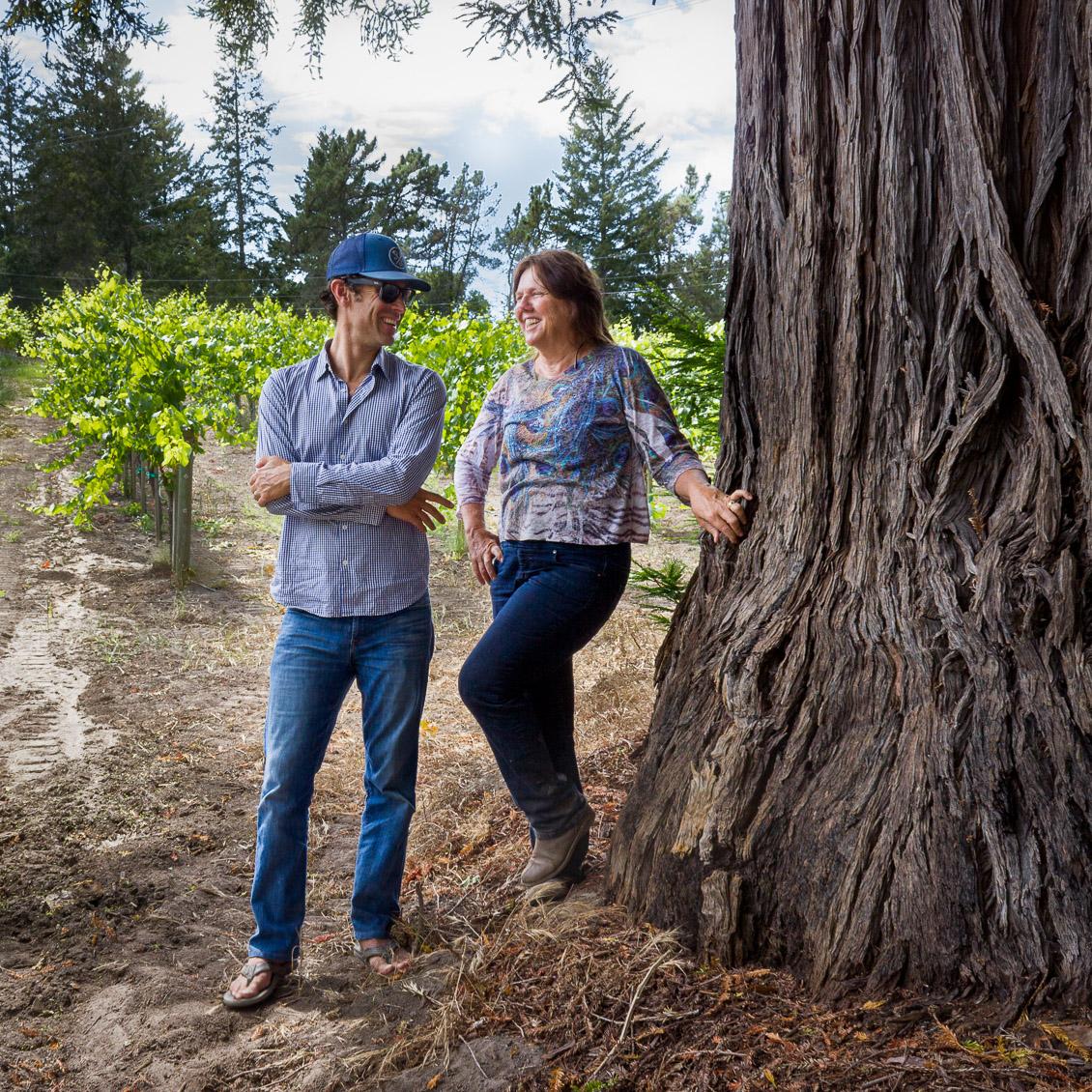 Matt Licklider with Prudy Foxx at Beauregard Vineyard in the Santa Cruz Mountains