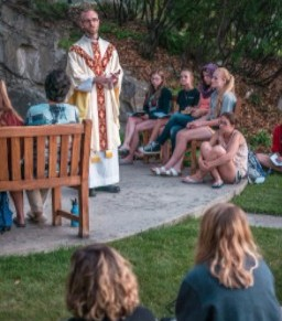 Students gathered forMass at Grotto
