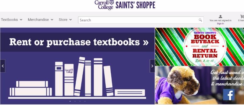 Screenshot of the Saints Shoppe website
