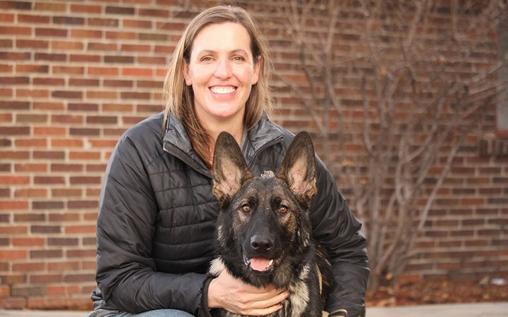 Dr. Erica Feuerbacher and Dog