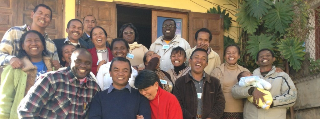 Kelly all smiles with a wonderful bunch of staff in Madagascar