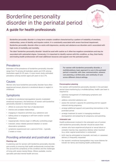 BPD perinatal factsheet