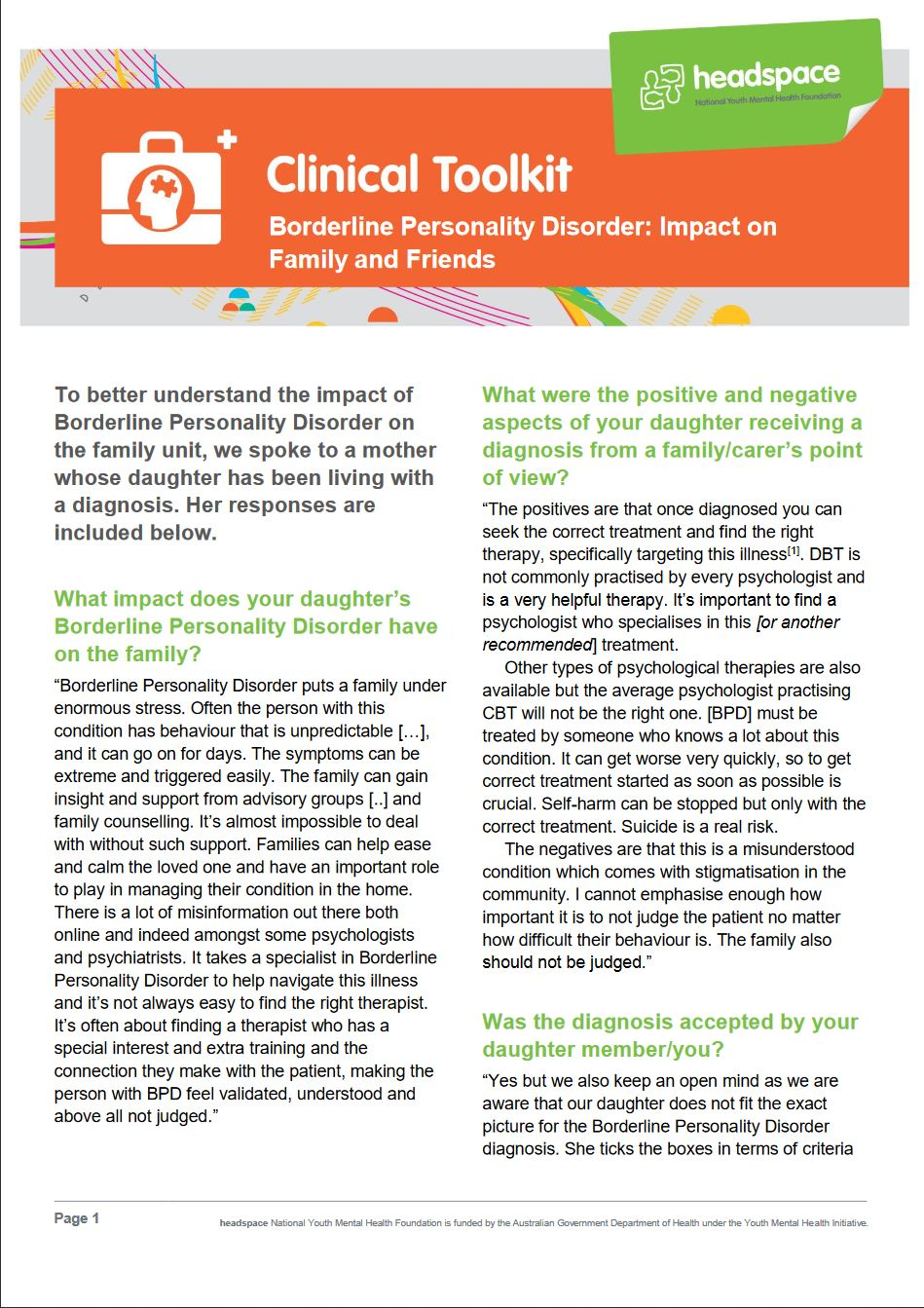 Image Headspace Clinical Toolkit Carers