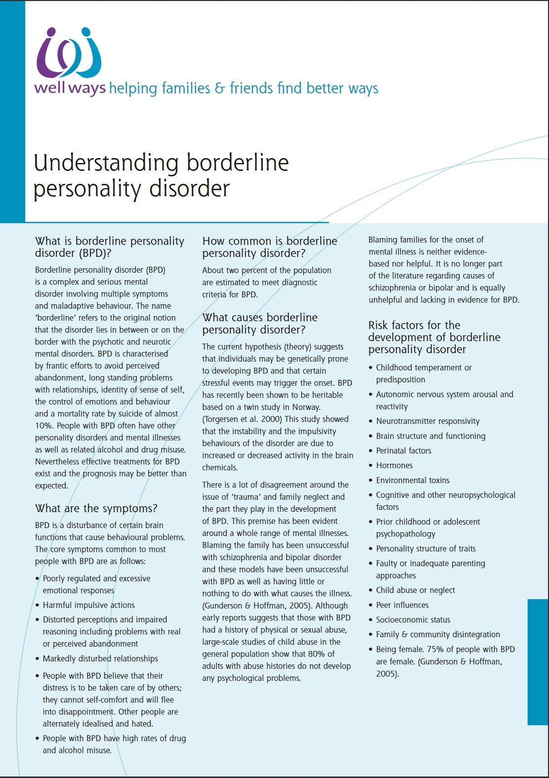 Image Well Ways Understanding BPD factsheet