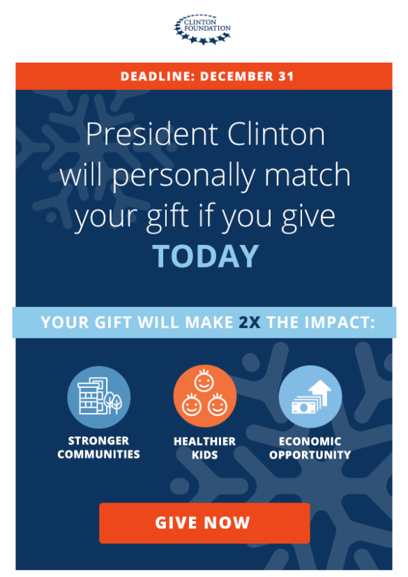 President Clinton will personally mactch your gift if you give TODAY