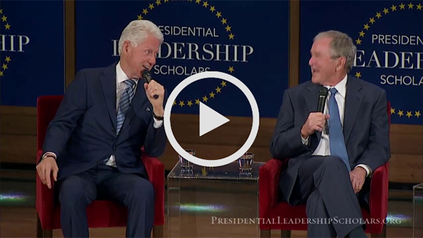 Presidents Clinton and Bush discuss the value ofleadership