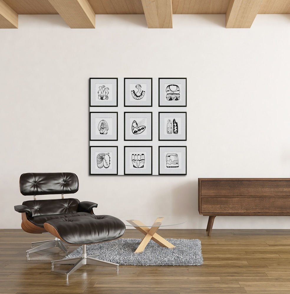 9 black and white drawings next to a leather chair