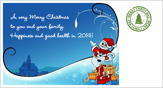 A very Merry Christmas to you and your family. Happiness and good health in 2014!
