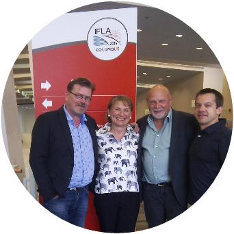EBLIDA President Jukka Relander, Vice-President Barbara Lison, EC Member Steen Bording Andersen and Director Vincent Bonnet