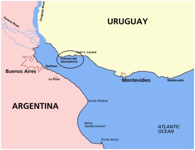 De afstand Buenas Aires – Uruguay is vergelijkbaar met de aftsand Groningen – Vlieland.