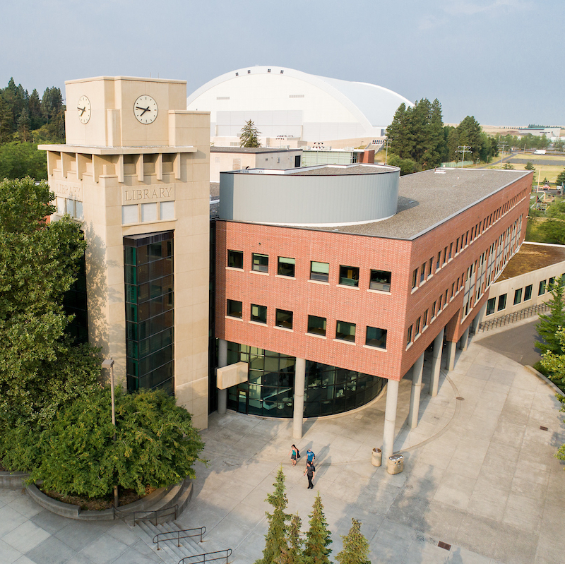 Aerial view of the University of Idaho Library