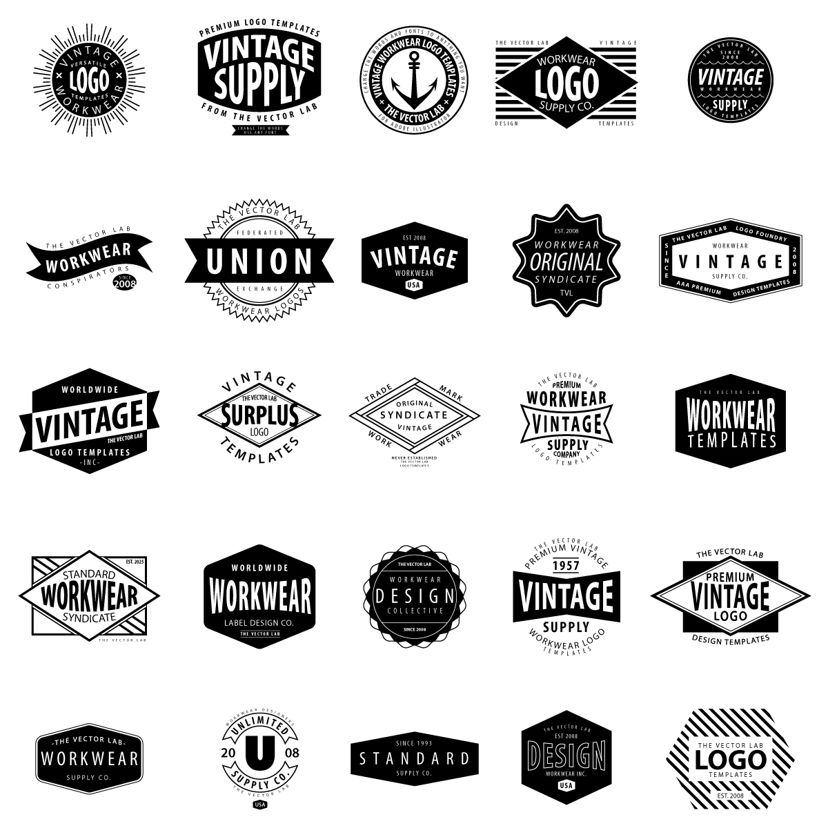 Vintage Logo Templates for Adobe Illustrator