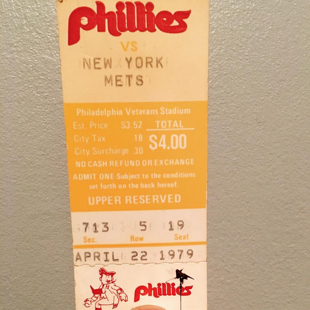My first Phillies ticket from April 22, 1979