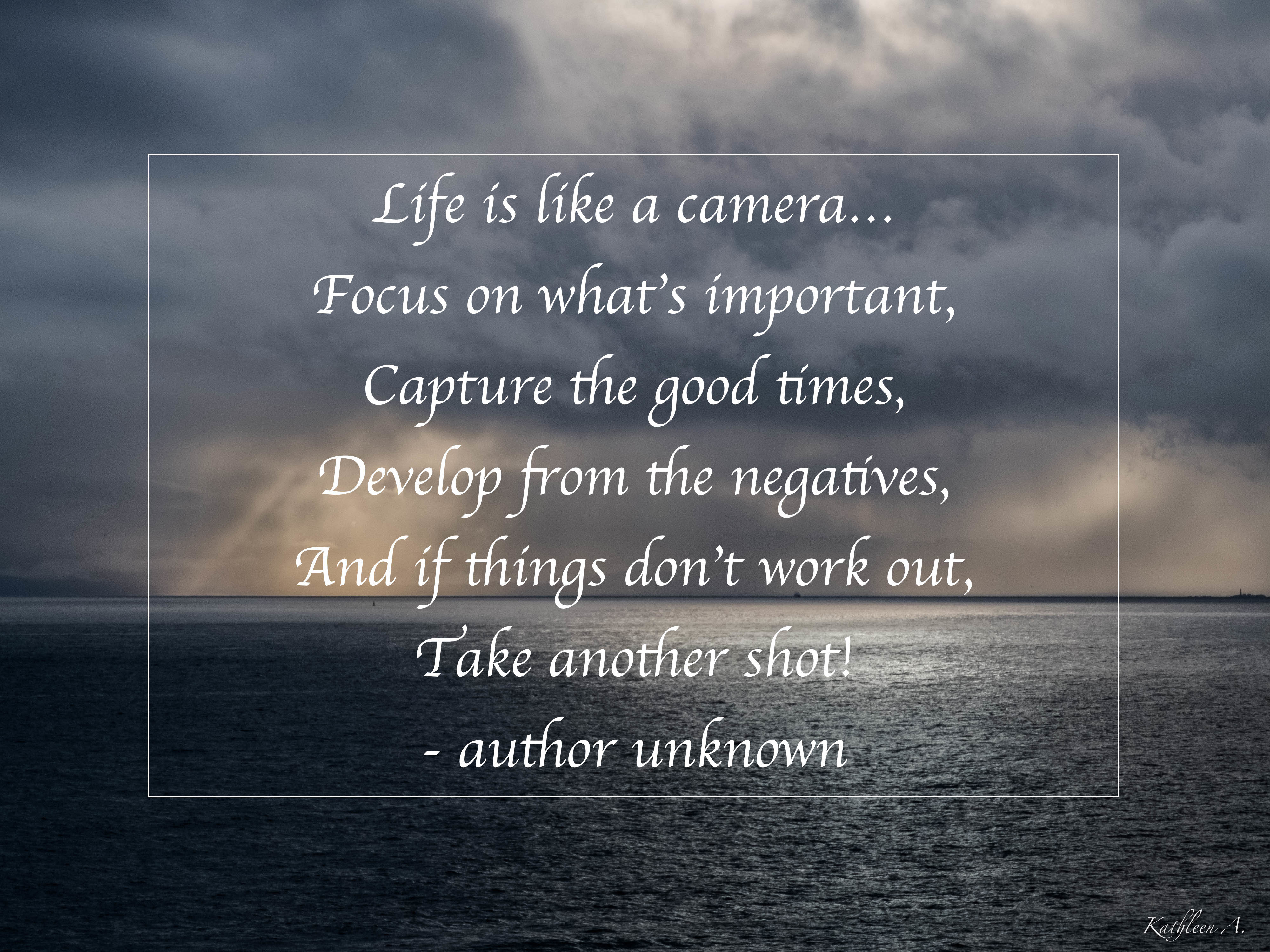 Photo with quote - Life is like a camera